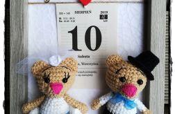 Metryczka ślubna (kartka z kalendarza i miś)