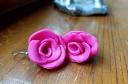 Kolczyki wiszące w kształcie różowej róży