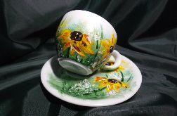 Filiżanka ręcznie malowana kwiaty słoneczniki