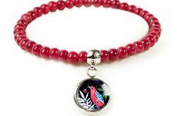 Red bird bransoletka z koralików.