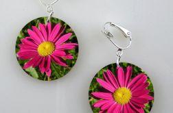Różowe kwiaty - klipsy
