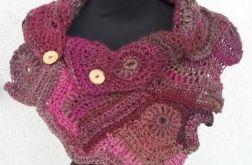 Szalik freeform crochet buraczkowy