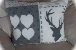 Duża poduszka z polaru z jeleniem