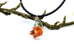 Naszyjnik wisiorek z żywicy pomarańczowy kwiat rzemień BOHO
