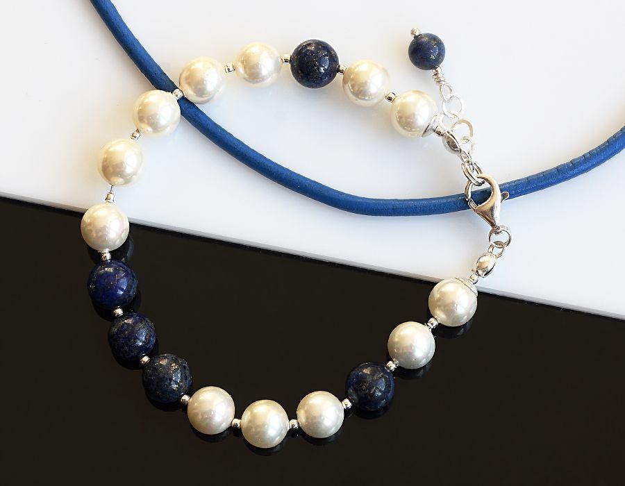 Bransoletka z pereł i lapis lazuli - bransoletka marynarska