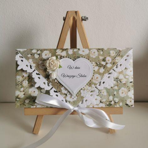Kartka ślubna kopertowa kopertówka kwiaty