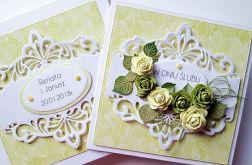 Kartka W DNIU ŚLUBU z limonkowymi różami