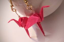 Kolczyki origami flamingi