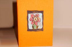 Kartka oranż z kwiatkiem nr 3