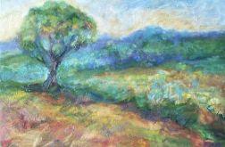 Pejzaż z drzewem-obraz olejny na płótnie