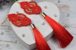 Długie kolczyki chwosty - czerwień i złoto