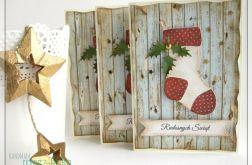 Kartka świąteczna ze skarpetą mikołaja 1
