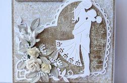 Kartka ślubna beżowo-brązowa A34