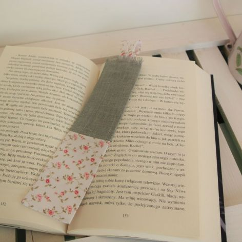 Zakładka do książki lniana z bawełną