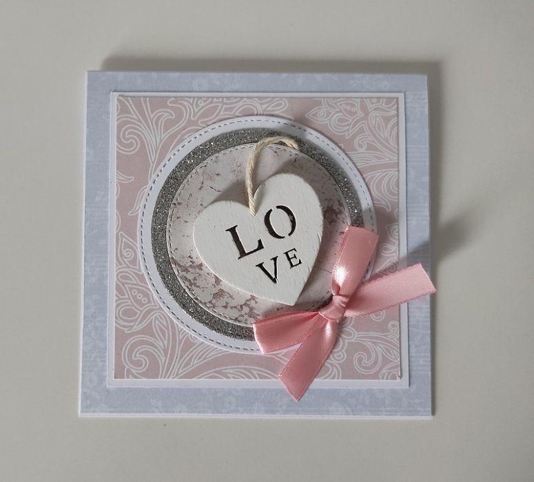 Kartka ślubna z sercem -