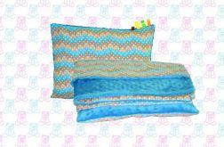Gruby koc MINKY + poduszka piórka turkus