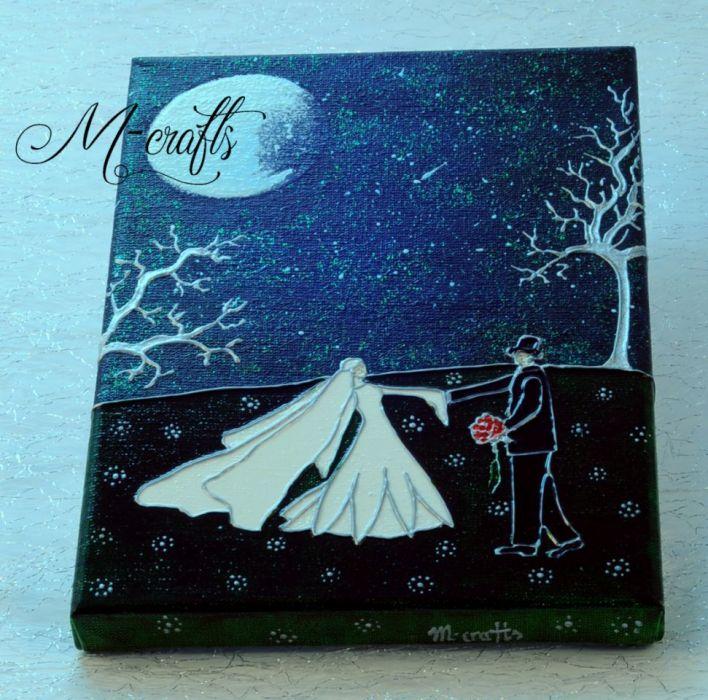 W blasku księżyca... Kartka ślubna na płótnie -