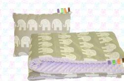 Koc MINKY przedszkolaka + poduszka słonie