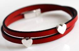 Bransoletka czerwona skórzana serce damska 5 mm