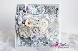 Kartka Ślubna - gipsowe serce