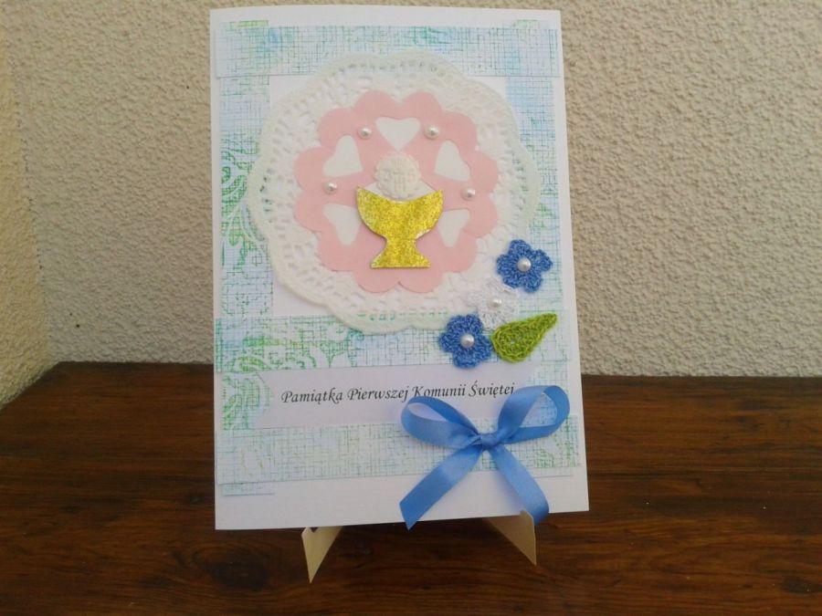 Kartka Pamiątka I Komunii Św. dla chłopca - kartka z okazji 1 komunii