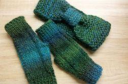 Ciepły zielony komplet - opaska i mitenki