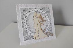 Kartka na Ślubna ręcznie robiona ślub koronka