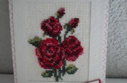 Róża haftowana - kartka okazjonalna