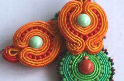 Zielono-pomarańczowe, duże kolczyki,sutasz