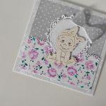 Kartka na chrzest narodziny roczek dziewczynka -