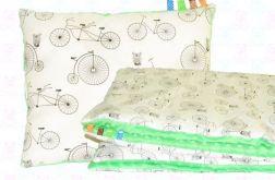 Koc do wózka MINKY + poduszka rowery+zielon