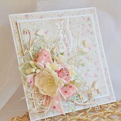 Pastelowa, elegancka kartka ślubna