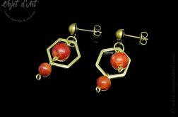 Kolczyki Czerwony Koral i Heksagony