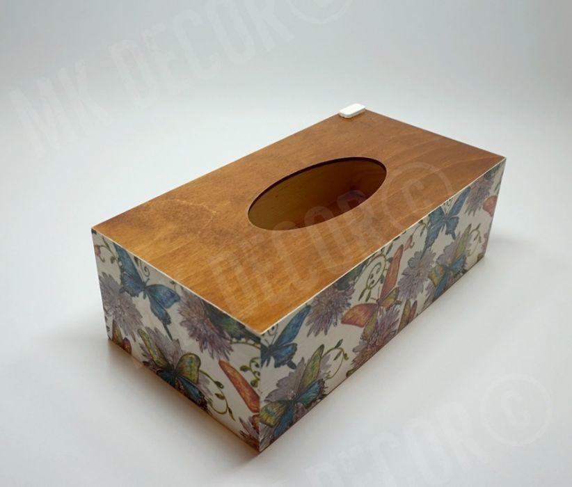 Pudełko prostokątne na chusteczki MOTYLE I KWIATY - pudełko na chusteczki