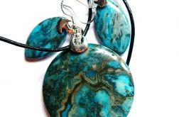 Niebieski agat szalony, wisior, kolczyki