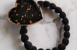Gumka do włosów z koralikami w żywicy -czerń