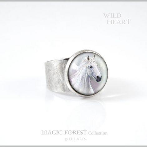 Pierścionek - Biały koń - kolor srebrny