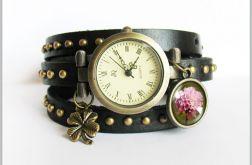 Bransoletka, zegarek - Retro lato - czarny, nity, skórzany