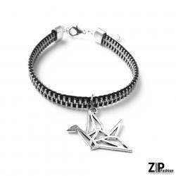 Designerska bransoletka z zawieszką żuraw