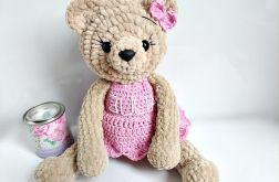 Pluszowa panna misia w różowej sukience 23 cm