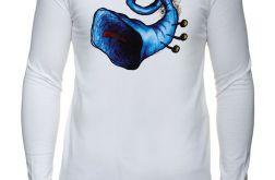 Niebieska trąbka - rękaw - męska biała