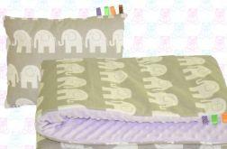 Gruby koc MINKY + poduszka słonie+fiolet
