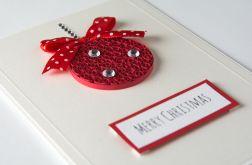 Kartka na Boże Narodzenie, Quilling, Bombka