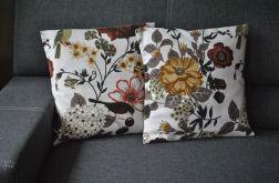 Poszewka dekoracyjna - beżowe i brązowe kwiaty