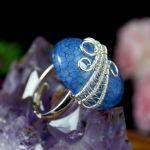 Agat dragon, srebrny pierścionek z agatem - regulowany pierścionek wire wrapped