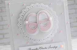 Kartka na chrzest - różowe pantofelki