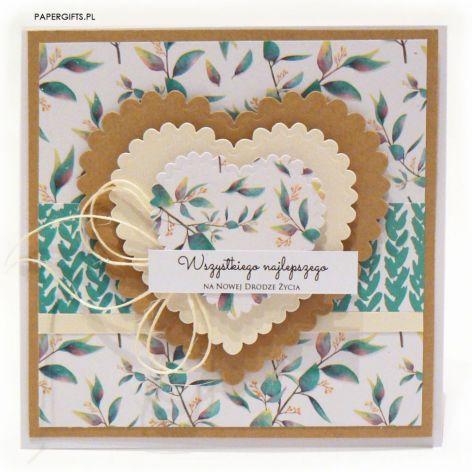 Kartka ślubna zielone listki i serca