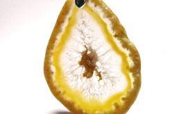Surowy plaster, żółty agat kryształ, wisior