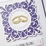 Kartka W DNIU ŚLUBU fioletowo-biała - Biało-fioletowa Pamiątka Ślubu