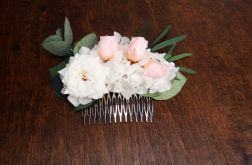 Grzebyk ślubny biel i pudrowy róż